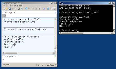 DOS vs Powershell for Unicode